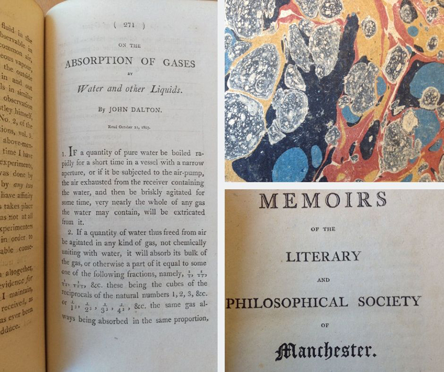 "Left: The first page of ""On the Absorption of Gases by Water and other Liquids"" by John Dalton; Upper Right: Marbling on cover of Memoirs, Lower Right: Title page of the Memoirs of the Literary and Philosophical Society of Manchester."
