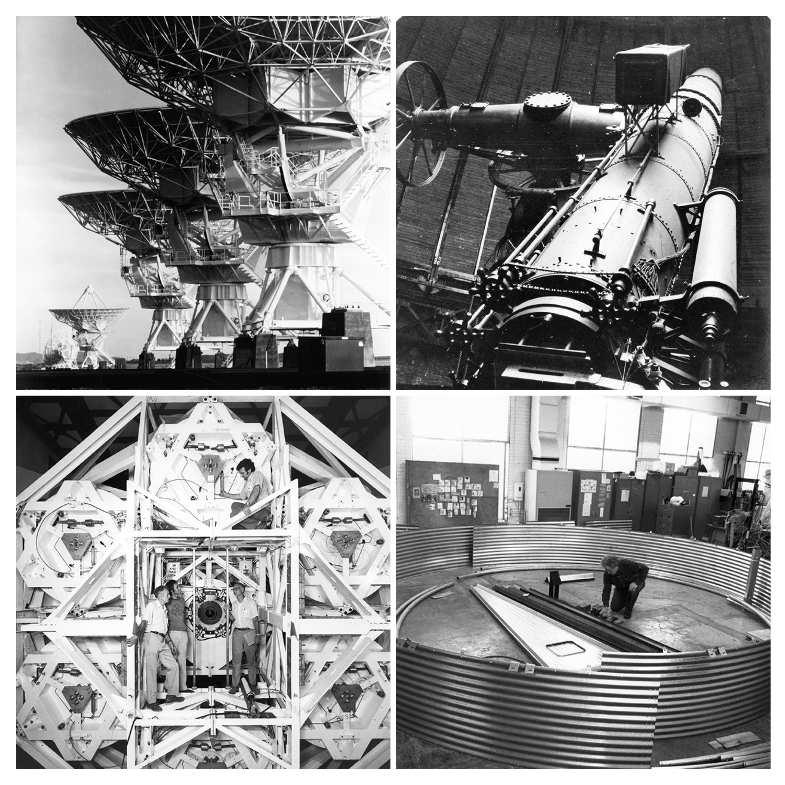 (clockwise, from top left corner) Telescopes in the Very Large Array, The Thaw Telescope at the Allegheny Observatory, The Multiple Mirror Telescope, Cosmic Ray Detector