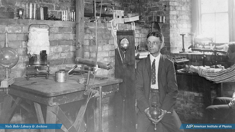 Henry Bumstead in his room at Cavendish Laboratory