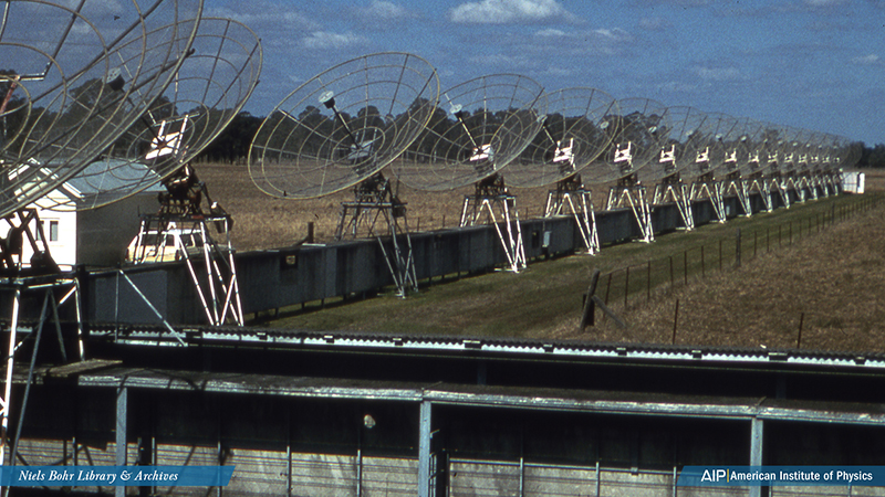 A row of telescopes at a field station 40 km from Sydney.