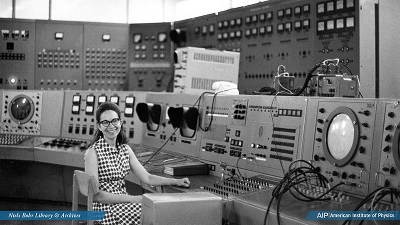 Gloria Lubkin at synchrotron control panel in Russia