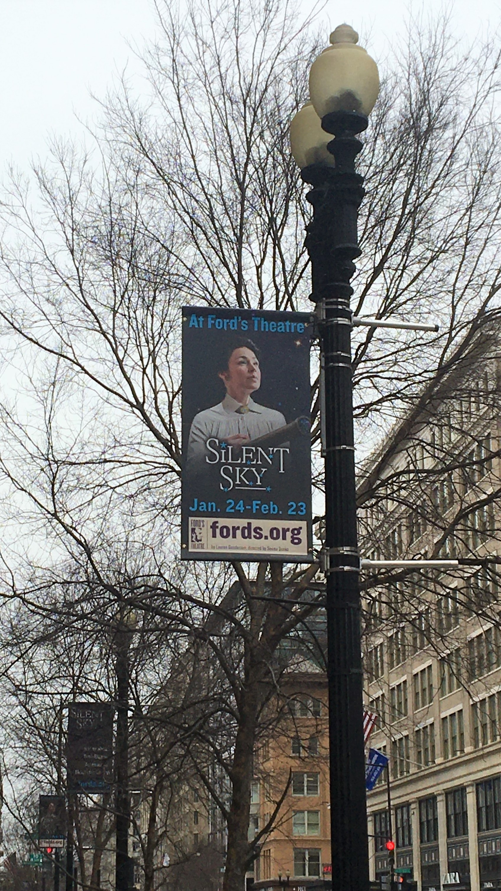 Silent Sky banners near Ford's Theatre