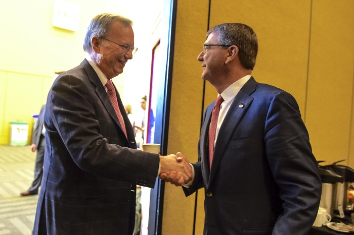 Defense Secretary Ashton Carter, right, meets with Eric Schmidt, executive chairman of Google parent company Alphabet and new chairman of the first DOD Innovation Advisory Board, during the RDSA Security Conference in San Francisco, March 2, 2016.  (Department of Defense photo by Navy Petty Officer 1st Class Tim D. Godbee).