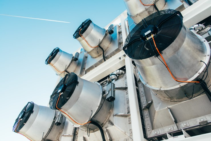Photo of a direct air capture plant run by the Swiss company Climeworks.