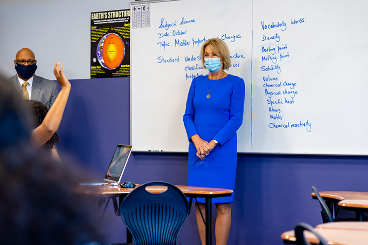 Education Secretary Betsy DeVos visits a science class at Alpha Academy, a charter school in Fayetteville, North Carolina.
