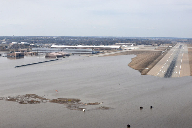 Flooding at Offutt Air Force Base in Nebraska in March 2019.