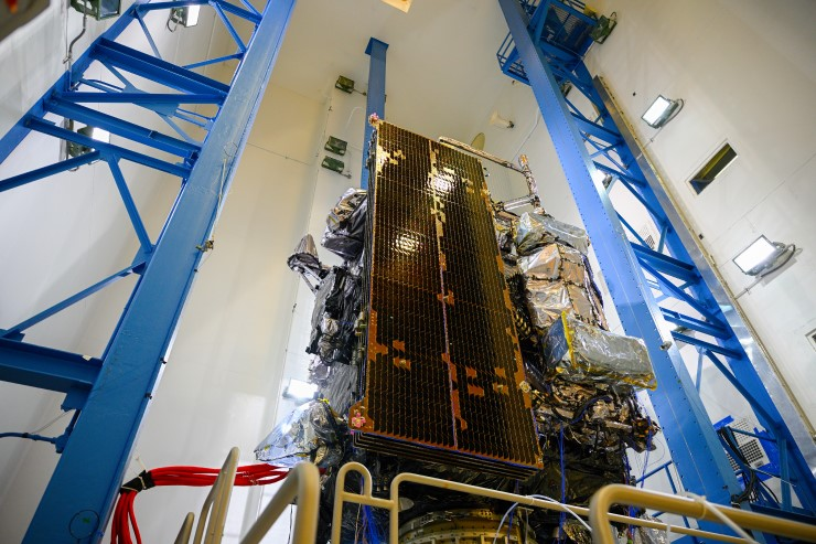 GOES-T, the third in a series of next-generation geostationary weather satellites, underwent vibration testing at a Lockheed Martin facility in Colorado.