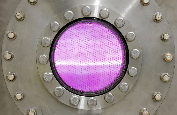 Plasma viewed through a port in the proto-MPEX facility at Oak Ridge National Laboratory.