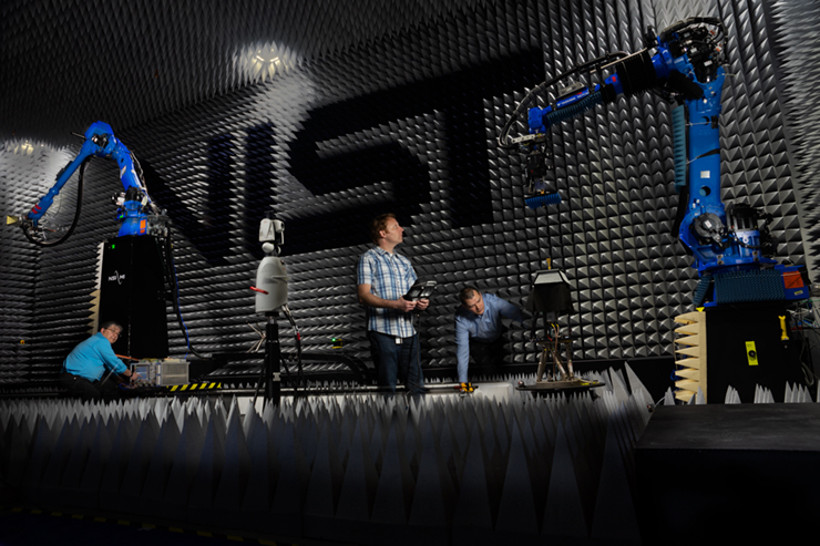 A composite photo of preparations for calibration of a reference antenna used in research by the 5G mmWave Channel Model Alliance.