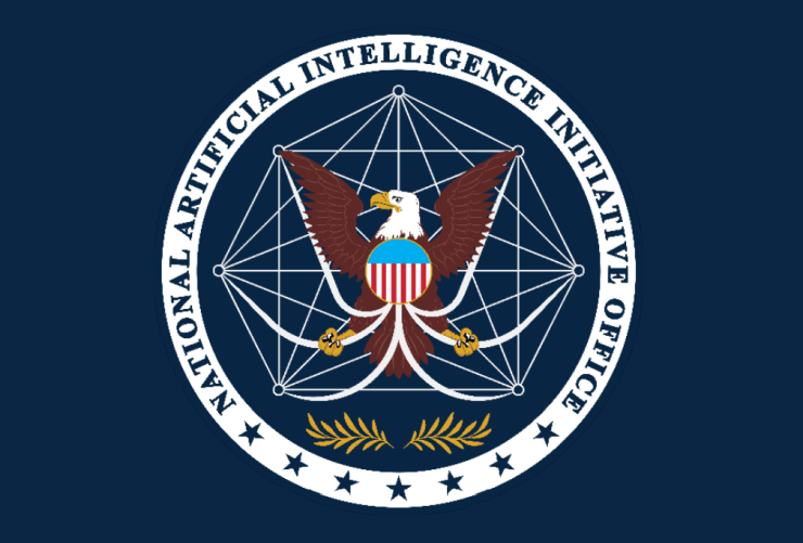 The seal of the newly established National Artificial Intelligence Initiative Office, featuring an eagle superimposed over interconnected nodes symbolizing a neural network.