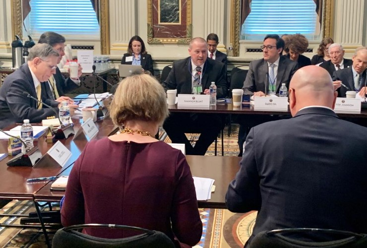 White House Office of Science and Technology Policy Director Kelvin Droegemeier, seated at the head of the table, presided over a meeting of the President's Council of Advisors on Science and Technology held this past February.