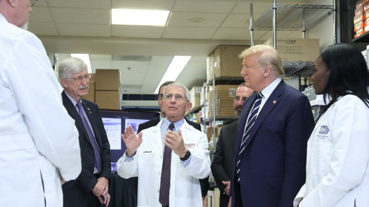 President Trump toured NIH's Vaccine Research Center on March 3 with NIAID Director Anthony Fauci, center, and NIH Director Francis Collins, left.