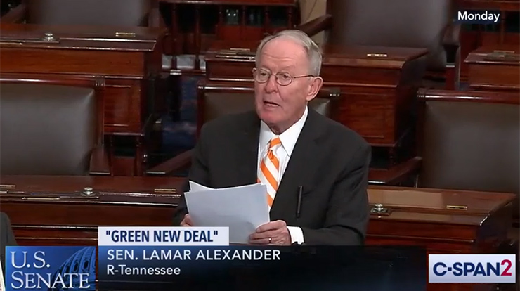 """Speaking on the Senate floor on March 25, Sen. Lamar Alexander (R-TN) calls for a """"New Manhattan Project for Clean Energy."""""""
