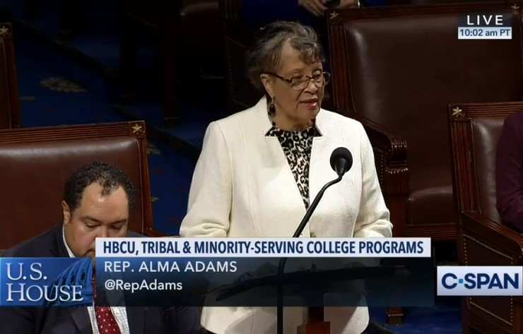 Rep. Alma Adams (D-NC) speaks in support of the FUTURE Act on the House floor on Dec. 10.