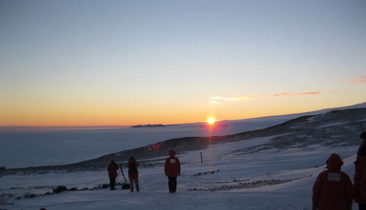 Crowd watching Antarctic sunset