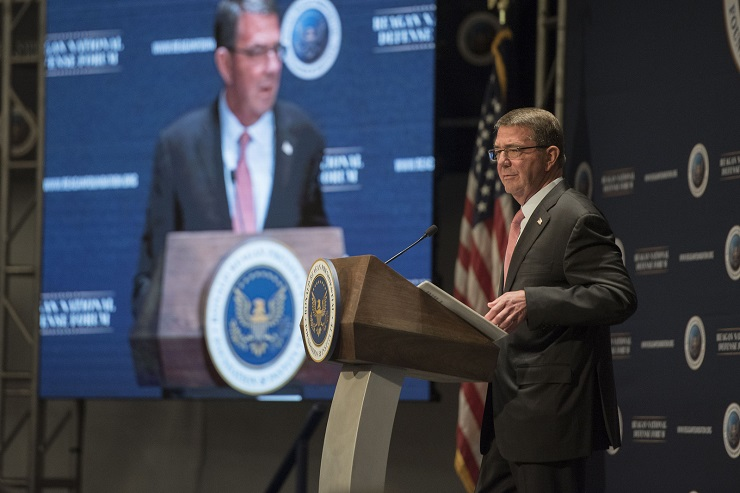 Defense Secretary Ash Carter addresses the Reagan National Defense Forum at the Ronald Reagan Presidential Library in Simi Valley, Calif., on Dec. 3.