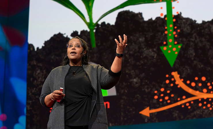 Asmeret Berhe delivering a talk at a TED conference in 2019.