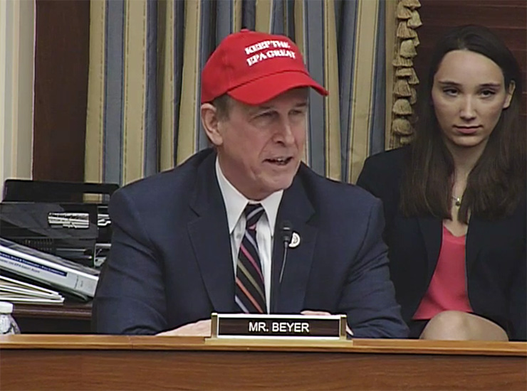 "Rep. Don Beyer (D-VA) dons a ""Keep the EPA Great"" cap to show his opposition to proposed reforms to the agency's regulatory process."