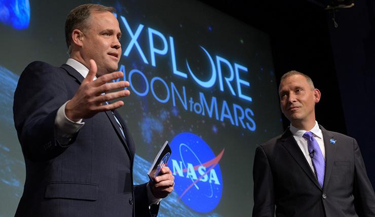 NASA Administrator Jim Bridenstine and Science Mission Directorate head Thomas Zurbuchen