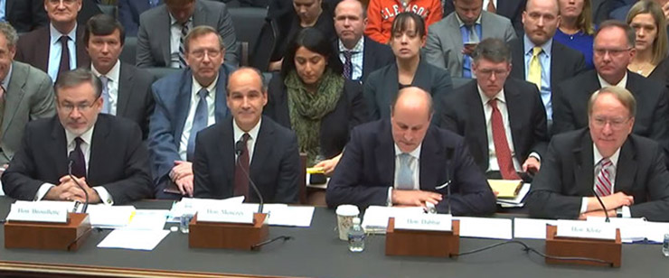 Deputy Energy Secretary Dan Brouillette, Under Secretary of Energy Mark Menezes, Under Secretary for Science Paul Dabbar, and Under Secretary for Nuclear Security Frank Klotz.