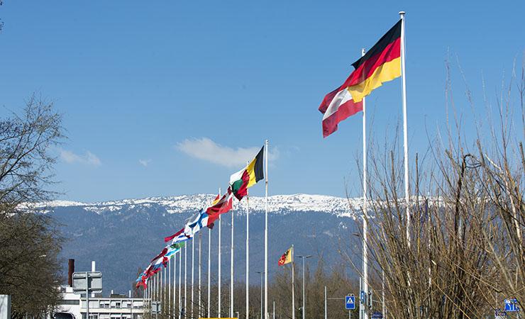 International flags flying at CERN