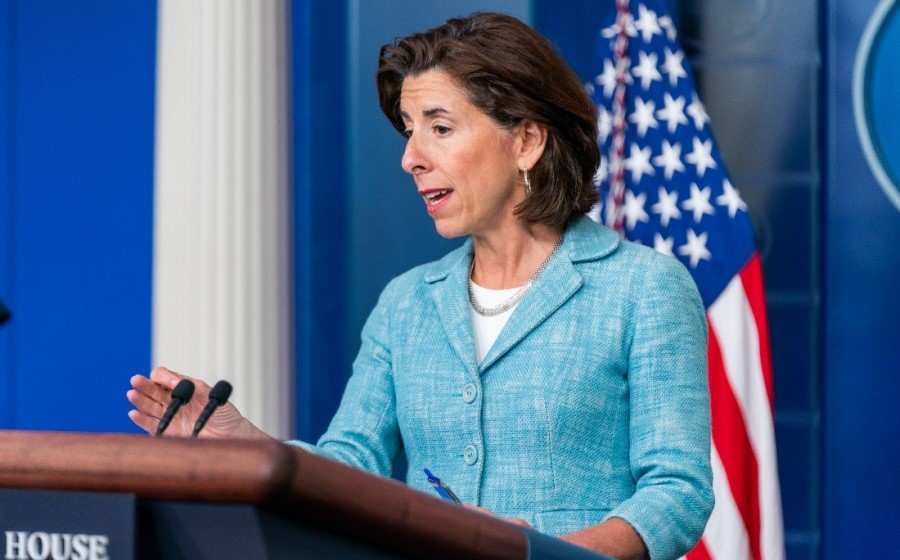 Commerce Secretary Gina Raimondo speaks during a White House press conference on the department's new pandemic recovery grant programs.