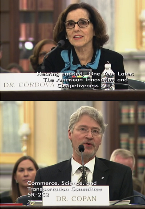 NSF Director France Cordova and NIST Director Walter Copan
