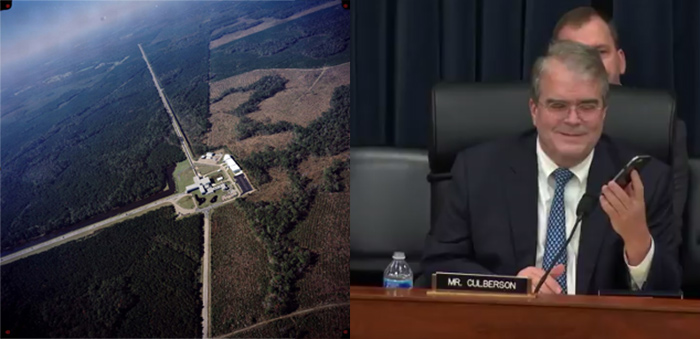 Left:An aerial view of the Laser Interferometer Gravitational-wave Observatory (LIGO) detector in Livingston, Louisiana. Right: Rep. John Culberson (R-TX) listens on his phone to an audio rendering of the gravitational signal received from the collision