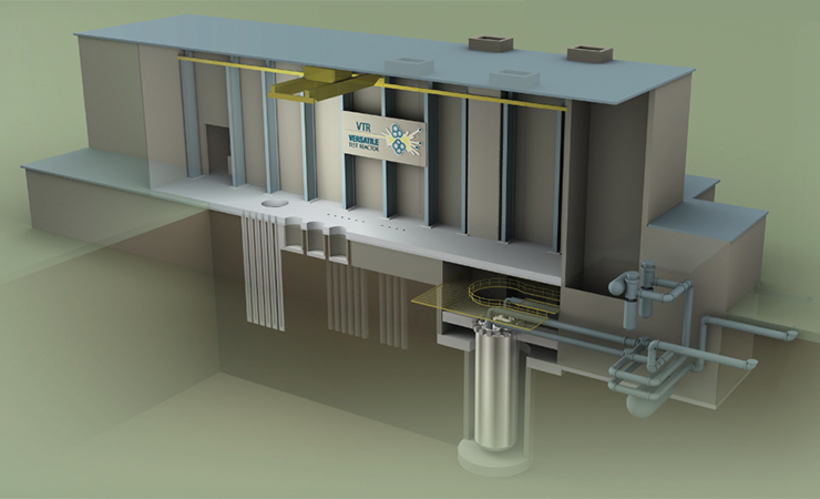 A conceptual illustration of the proposed Versatile Test Reactor user facility, which would provide a U.S.-based capability for testing materials and fuels intended for use in certain kinds of advanced nuclear reactors.