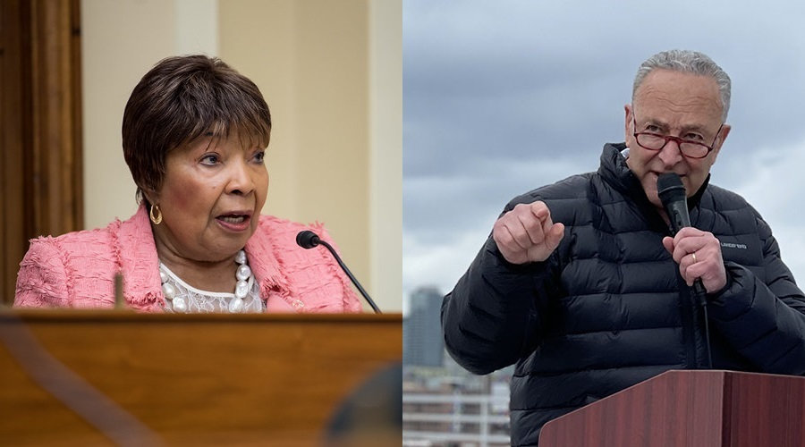 House Science Committee Chair Eddie Bernice Johnson (D-TX), left, and Senate Majority Leader Chuck Schumer (D-NY)