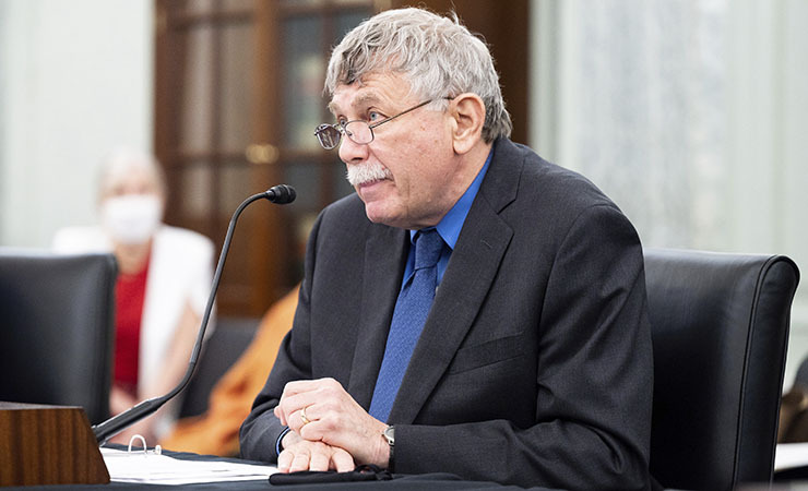 Eric Lander, President Biden's nominee for OSTP director, testifies before the Senate Commerce, Science, and Transportation Committee on April 29.