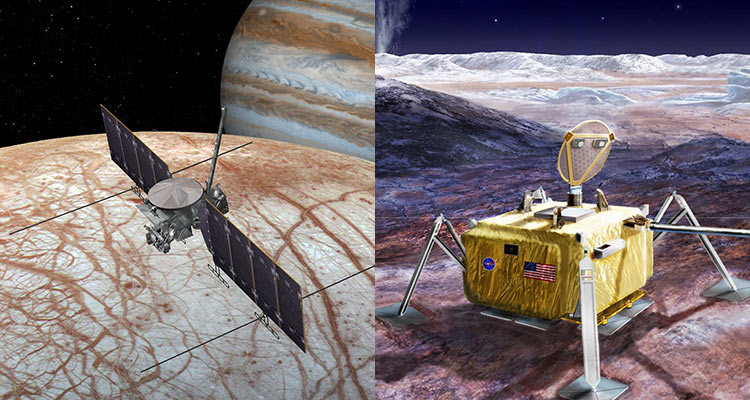 Artistic renderings of future Europa Clipper and Lander missions.