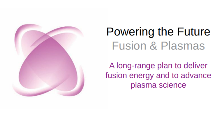 "The long range plan logo, a stylized pink atom, and the text ""Powering the Future Fusion & Plasmas: A long-range plan to deliver fusion energy and to advance plasma science"""