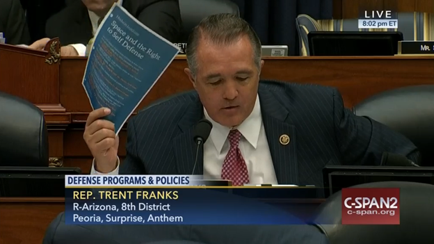 Rep. Trent Franks citing a forthcoming study by the Hudson Institute during his argument in favor of developing a space-based missile defense system. (Photo credit – C-SPAN)