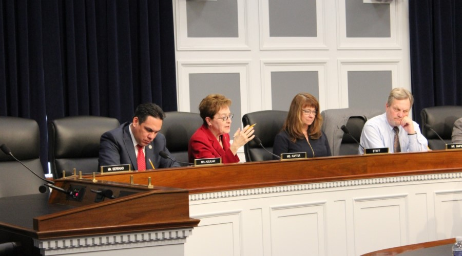 Rep. Marcy Kaptur (D-OH), second from left, speaks at a hearing of the House Energy-Water Appropriations Subcommittee, which drafts legislation that funds the Department of Energy and U.S. Army Corps of Engineers.