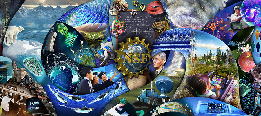 NSF's History Wall is a mural in the entrance of the agency's headquarters that illustrates research areas it has supported over 70 years.
