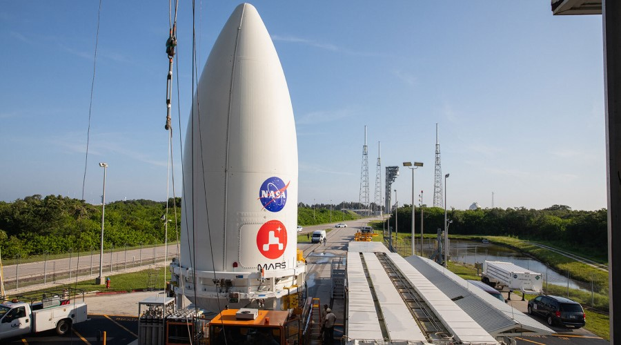 The rocket nosecone containing the Mars Perseverance rover at Cape Canaveral Air Force Station on July 7.