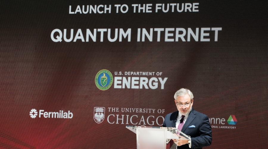Energy Secretary Dan Brouillette speaking at the launch event for the Department of Energy's quantum internet initiative.