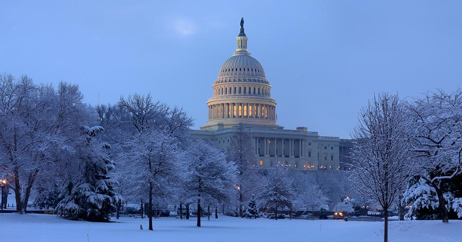 The Capitol building in winter