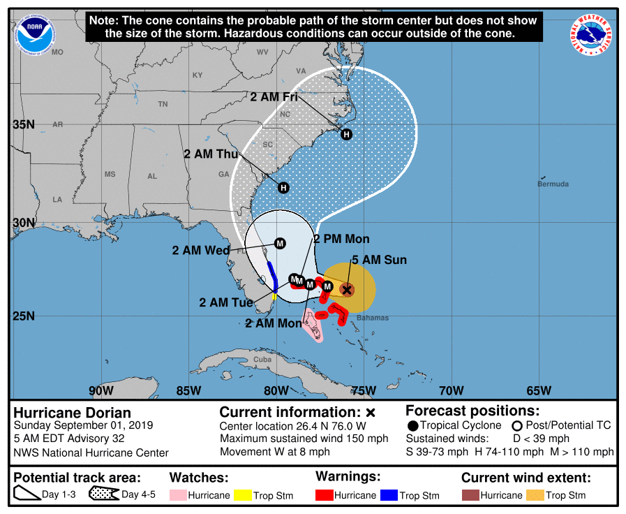 The National Weather Service's predicted track of Hurricane Dorian when President Trump sent his tweet on Sept. 1.