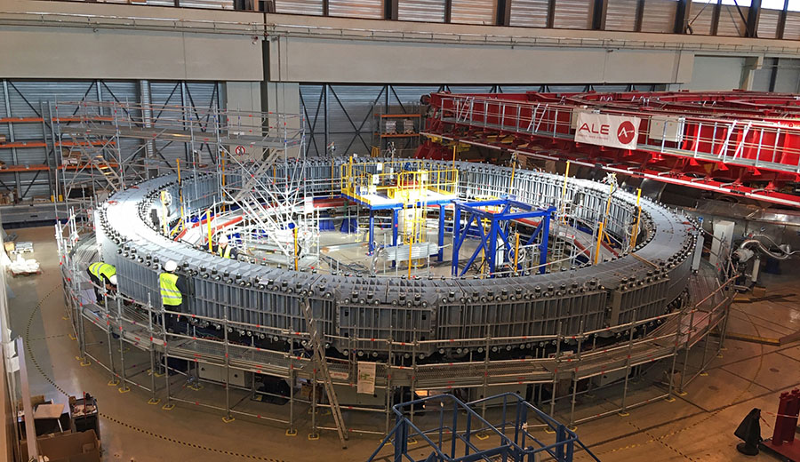 Construction is underway on magnetic coils for the ITER tokamak facility, an international project to investigate the prospects for generating energy from magnetically confined plasmas.