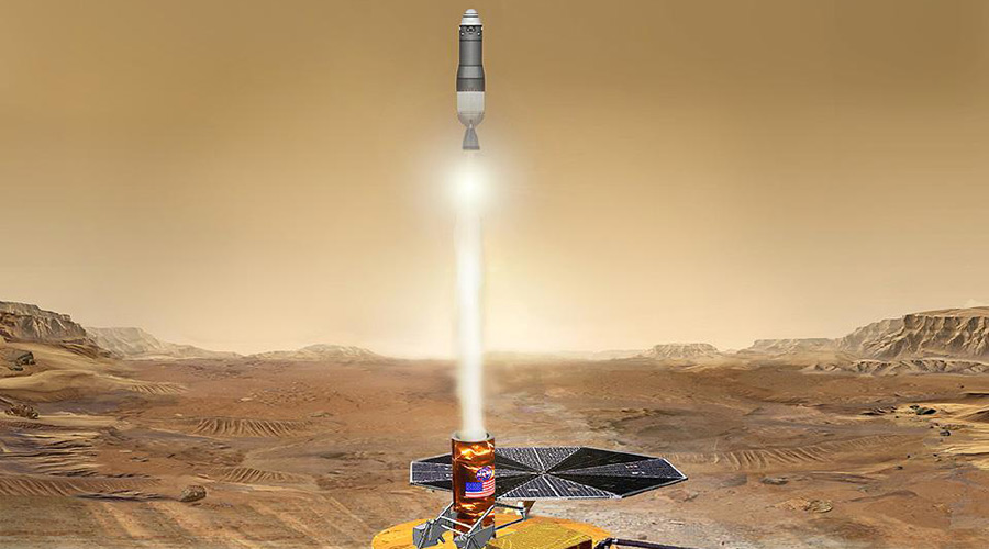 An artistic conception of the proposed Mars Sample Return mission, which NASA is considering for launch in the mid-2020s.