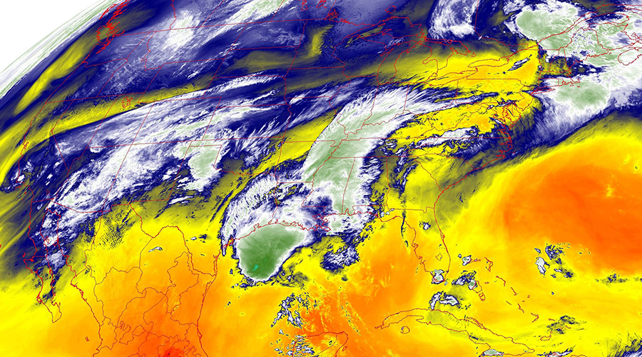 Low-level water vapor over the U.S. from GOES 16
