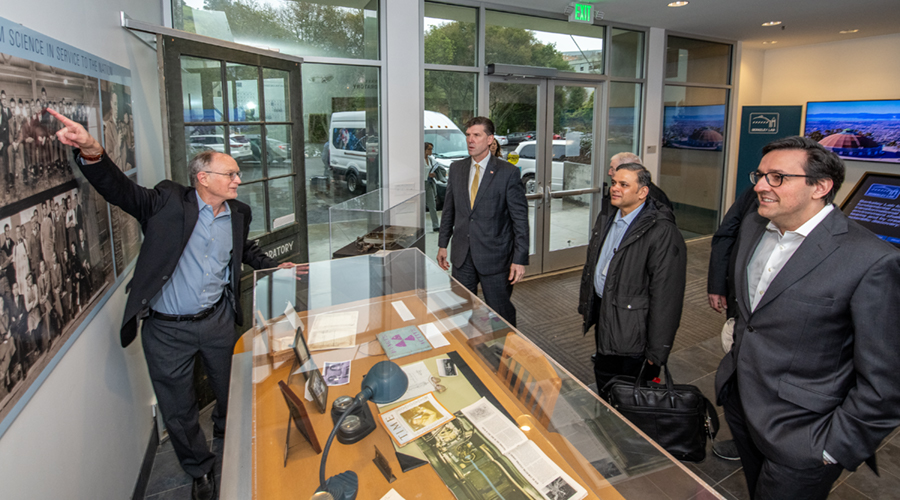 Lawrence Berkeley National Lab Director Michael Witherell, left, leads PCAST members and staff on a tour of the lab in January. A.N. Sreeram, second from right, is the chair of the council's Subcommittee on New Models of Engagement for Federal and Nationa