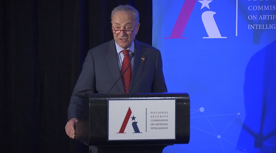 Sen. Chuck Schumer (D-NY) speaks on Nov. 5 at a conference organized by the National Security Commission on Artificial Intelligence.