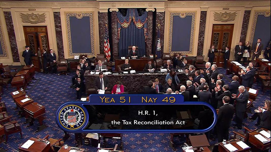 Senate chamber after tax bill vote