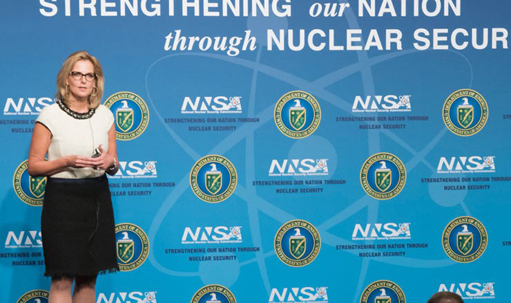 Lisa Gordon-Hagerty addressing NNSA employees following her swearing in as agency administrator