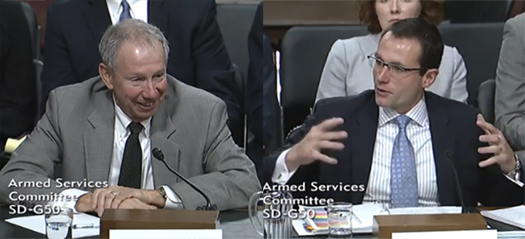 Mike Griffin, left, and Will Roper, right, testify at their confirmation hearing before the Senate Armed Services Committee.