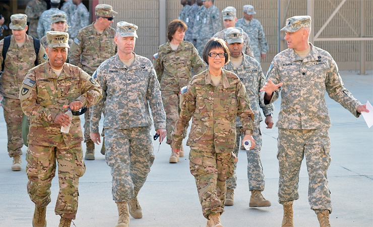 Heidi Shyu visiting a Kuwait-based Army field support battalion in 2014, when she was assistant secretary of the Army for acquisition, logistics, and technology.