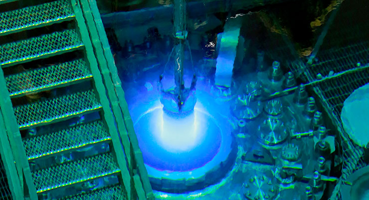 Oak Ridge National Laboratory's High Flux Isotope Reactor during a routine refueling operation in 2015.